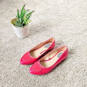 Stevie's Hot Pink Heart Pointed Toe Flats